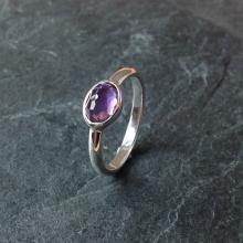 Silver amethyst oval rings, Rose Cut Gemstone Ring