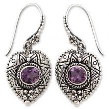 Silver and Amethyst Heart Earrings, 'Love's Miracles'