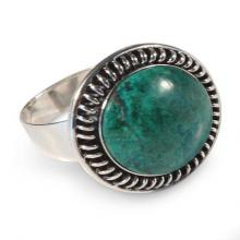 Silver and Chrysocolla Cocktail Ring, 'Andean Moon'