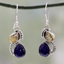 Silver and Lapis Lazuli Earrings with Faceted Citrine, 'Two Teardrops'