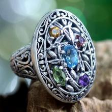 Silver and Multigem Cocktail Ring