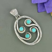 Sleeping Beauty Arizona Turquoise Gemstone Pendant, 925 Sterling Silver Jewelry, Unique Gift Jewelry, Bezel Set Fine Gift Jewelry