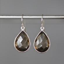 Smokey Quartz Bezels, Brown and Silver, Smokey Quartz Earrings, Silver Bezels, Bridal Jewelry, Gemstone Earrings