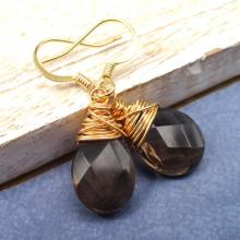 Smokey Quartz Earrings, Gold Wire Wrapped Earrings, Brown Gemstone Earrings, stone earrings