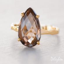 Smokey Quartz Ring - Gemstone Ring - Stacking Ring - Gold Ring - Tear Drop Ring - Prong Set Ring