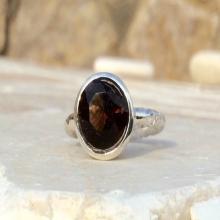 Smokey Quartz Zircon Silver Hammered Finish Round Stone Ring, Bezel Set Ring, Dark Brown Zircon Gemstone Ring