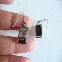 Smokey Quartz, Quartz Earrings, smokey earrings, gemstone earrings, rectangle earrings, gemstone, smokey quartz, quartz, silver plated