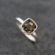 Smoky Quartz And Sterling Cushion Solitaire Gemstone Ring