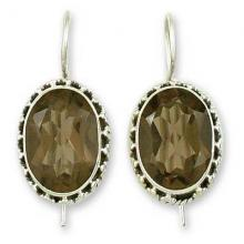 Smoky Quartz Earrings Sterling Silver Jewelry, 'Dazzle'