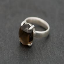 Smoky Quartz Ring - Big Cabochon Rich Smoky Quartz Set In Sterling Silver