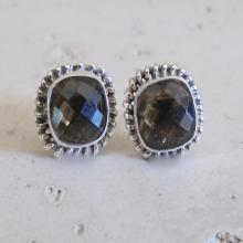 Smoky Quartz Studs- Silver Studs Earrings- Stone Post Earrings- Quartz Silver Studs- Gemstone Studs- Silver Stone Earrings- Top