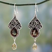 Smoky Quartz on Sterling Silver Artisan Crafted Earrings , 'Queen of Jaipur'