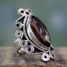 Smoky quartz cocktail ring, 'Elusive Love'