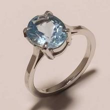 Solid Sterling Silver Blue Topaz Gemstone Solitaire Fine