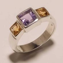 Solid Sterling Silver Multi 3 Gemstones Fashion Fine
