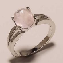 Solid Sterling Silver Rose Quartz Gemstone Solitaire