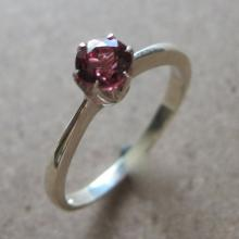 Solitaire Garnet Ring- Silver Garnet Ring- Solitaire Ring- Promise Ring- Stack Ring- Gemstone Ring- Silver Ring