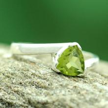Solitaire Peridot Ring Crafted in Sterling Silver, 'Scintillating Jaipur'