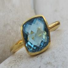 Square Blue Topaz Ring- Topaz Ring- Blue Topaz Ring- Blue Quartz Ring- Silver Ring- Stone Ring- Gemstone Ring- Blue Ring