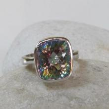 Square Mystic Topaz Ring- Statement Ring- Unique Gemstone Ring- Stone Ring- Topaz Ring- Bezel Ring- Gift for Her- Jewelry Gifts