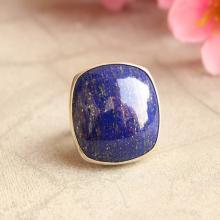 Statement Lapis Lazuli ring - Square - cushion ring - Bezel ring - Artisan ring - Gemstone ring - Lapis ring
