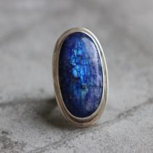 Statement Rainbow Moonstone Ring - Blue moonstone - Artisan ring - Oval ring - Gemstone ring - Sterling silver ring - Bezel ring