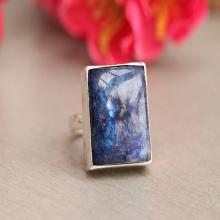 Statement Rainbow Moonstone Ring - Blue moonstone - Artisan ring - rectangle ring - Gemstone ring - Sterling silver ring - Bezel ring