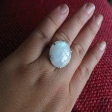 Statement ring - Rainbow Moonstone Ring - Round prong set ring - Cabochon ring - Gemstone ring