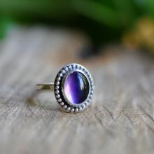 Sterling Amethyst Stacking Ring, Oxidised, Sterling Silver Gemstone Ring - Candy Ring in Amethyst
