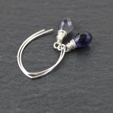Sterling Silver & Iolite Drop Earrings. Long Drop Earrings. Blue Gemstone Jewellery. Wire Wrapped Teardrop Earrings. Bead Dangle Earrings