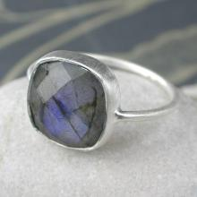Sterling Silver & Square Cut Labradorite Gemstone Ring