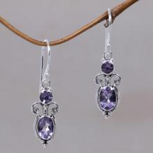 Sterling Silver Amethyst Dangle Earrings, 'Crown Princess'