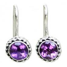 Sterling Silver Amethyst Drop Earrings, 'Purple Spell'