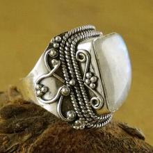 Sterling Silver Cocktail Ring Moonstone Jewelry, 'Love's Passion'