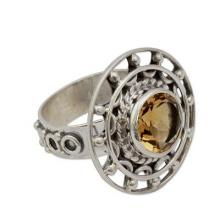 Sterling Silver Cocktail Ring with Citrine, 'Delhi Radiance'