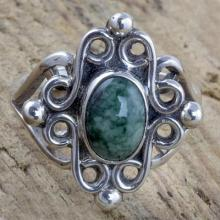 Sterling Silver Cocktail Ring with Light Green Jade, 'Maya Majesty'