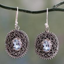 Sterling Silver Dangle Earrings with Oval Blue Topaz Gems, 'Ornate Shield'