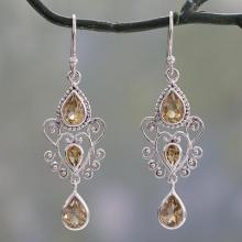 Sterling Silver Dangle Earrings with Pear Shaped Citrines, 'Enchanted Princess'