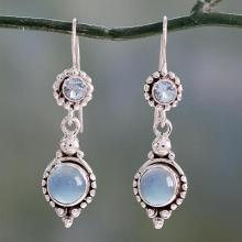 Sterling Silver Earrings with Blue Topaz and Chalcedony, 'Blue Reverie