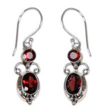 Sterling Silver Garnet Dangle Earrings, 'Crown Princess