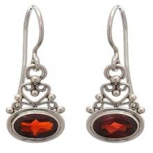 Sterling Silver Garnet Dangle Earrings, 'Indonesian Romance'