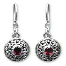 Sterling Silver Garnet Dangle Earrings, 'Wild Beauty'