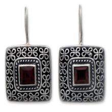 Sterling Silver Garnet Drop Earrings, 'Adoration'