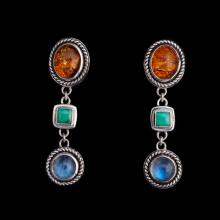 Sterling Silver Gemstone Earrings Moonstone, Amber, Turquoise
