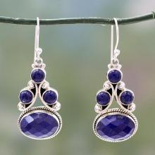Sterling Silver Jewelry Lapis Lazuli Earrings, 'Love Foretold'