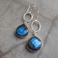 Sterling Silver Labradorite earrings - Dangle earrings - Bezel set earrings - Gemstone earrings - Jewelry gift ideas