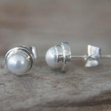 Sterling Silver Pearl Stud Earrings