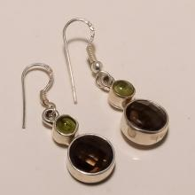 Sterling Silver Peridot And Smokey Earring
