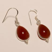 Sterling Silver Red Onyx Earring