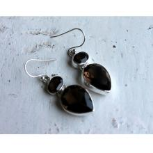 Sterling Silver Smoky Quartz Earrings, 925 Sterling Silver Jewelry, Brown Gemstone Earrings